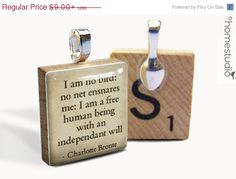 """HALF OFF - Charlotte Bronte Quote (Freedom) : pendant jewelry from a Scrabble tile. """"I am no bird: no net ensnares me: I am a free human being with an independent will"""""""