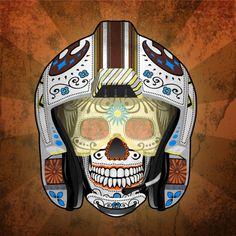 Rebel X-Wing pilot sugar skull by John Karpinsky