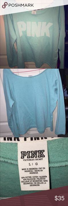 😍EUC VS PINK Hoodie Gorgeous seafoam green color hoodie adds pop of color to any dreary day! Love this but don't wear it nearly enough. No holes or stains. pINK patch on the arm as pictured. 💕Bundle&Save    💕Offers through Offer Button Only won't respond to offers made in comments PINK Victoria's Secret Sweaters
