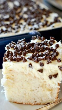 Cannoli Poke Cake ~ A delicious take on a traditional cannoli, this cake is rich, decadent and super easy to make!... white cake infused with condensed milk, topped with ricotta & mascarpone frosting!