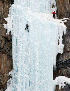 Whoa. Yoho National Park. Ice climbing.