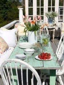 Shabby Chic Outdoor Dining Patio Furniture Green