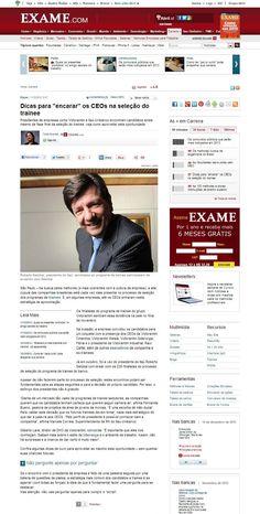 """Título: Dicas para """"encarar"""" os CEOs na seleção do trainee;  Veículo: Exame;  Data: 11/12/2012;  Cliente: Across."""