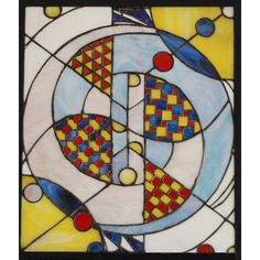 Stained Glass Panel #3  Material: glass  Size: 24.0 in x 20.5 in (61 cm x 52 cm)