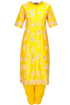 Saumya & Bhavini Modi presents Mango yellow floral embroidered kurta set available only at Pernia's Pop-Up Shop. Salwar Kameez, Dhoti Saree, Anarkali, Ethnic Outfits, Indian Outfits, Latest Designer Sarees, Designer Dresses, Mehndi Outfit, Indian Couture