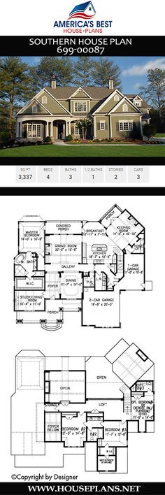 Southern House Plan Take notice of the alluring floor plan in this Southern home design. Southern House Plans, Ranch House Plans, Best House Plans, Craftsman House Plans, Dream House Plans, Modern House Plans, Southern Homes, Small House Plans, House Floor Plans