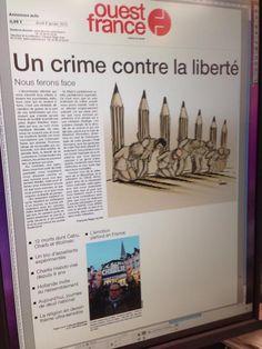 Charlie Hebdo - La Une de Ouest-France du 8 janvier 2015