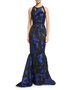 Halter-Neck Two-Tone Gown, Blue/Noir by J. Mendel at Neiman Marcus.