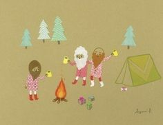 Note card with design by Ayumi Piland    These are the first bearded guys I think look cute