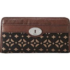 Maddox Signature Zip Clutch Color: BLACK/BROWN FOSSIL. $65.99