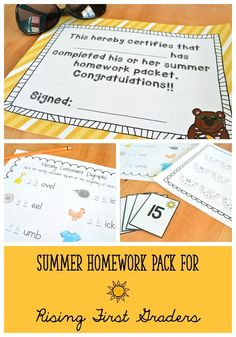 "Materials from ""Ready for First Grade!"" (Summer Homework Activities for Kindergarten).  Just print and send home - no prep required! $"