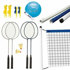 With two games in one with all the trimmings, this combination badminton/volleyball set is ideal for your next outdoor fiesta. You can even switch quickly from one sport to the other.  The set includes an official size vinyl volleyball with a pump & needle as well as two tempered steel badminton rackets with two yellow shuttlecocks. A carrying bag is included for quick and easy storage and travel. - See more at: http://franklinsports.com/shop/recreational-bm-vb-set