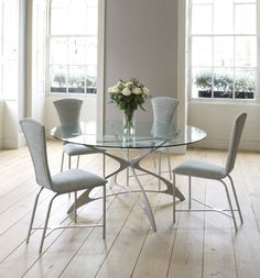 Opera Round Dining Table - Tom Faulkner - Top  Glass e.g. Standard Clear glass, Opti Clear glass, Tinted glass etc  Base Finish For the colour of the metal base - ALL of our standard and antique finishes are available
