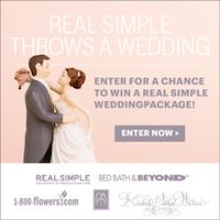 I just entered the Real Simple Throws a Wedding Sweepstakes. If you enter I may get a bonus entry! No Purchase Necessary. Ends 5/1. Click for Rules. Enter for your chance to win a Grand Prize Wedding Package including $2,500 to Bed, Bath