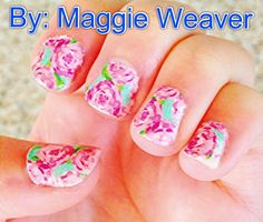 DIY Lilly Pulitzer Nails!   -Print out little pics of the Lilly pattern you want -put nail in Rubbing Alcohol (helps paper stay on) -put paper on nail -soak paper and nail in Alcohol until dripping wet -peel and cut the extra off  -put top on coat (may need 2 top coats) YOU'RE DONE! ENJOY YOUR PREPPY LILLY NAILS!!!  -Maggie Weaver
