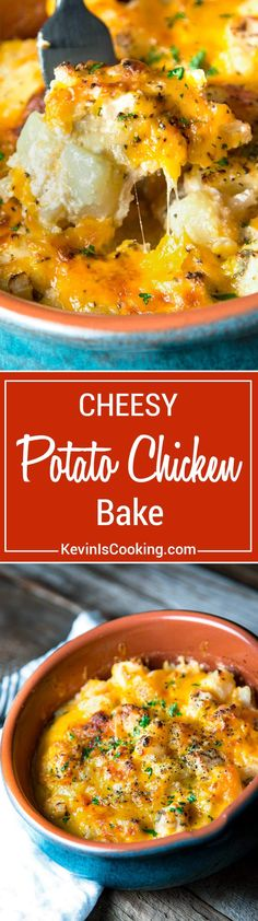 A great comfort food dish that can be a side or bumped up to meal status with chicken, this Three Cheesy Potato Chicken Bake boasts three cheeses and is a house favorite!