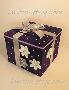 wedding card box purple and silver gift card box money card box holder customize your color