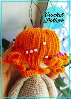 Doll Amigurumi Free Pattern, Amigurumi Doll, Tiny Teddies, Hair Patterns, Girls With Red Hair, Bobble Stitch, How To Start Knitting, Doll Hair, Crochet Hair Styles