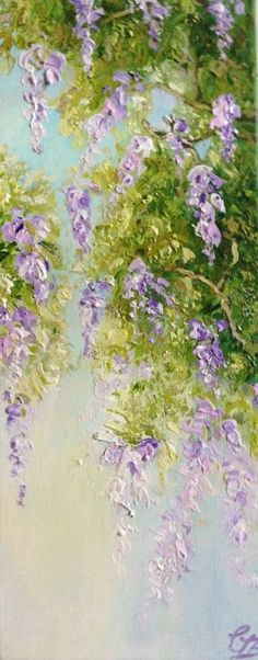 ARTFINDER: Wysteria by Colette Baumback - The cascading  wisteria flowers, always a wonderful sight in spring .  The painting was created using acrylic applied with a palette knife which gives the pa...