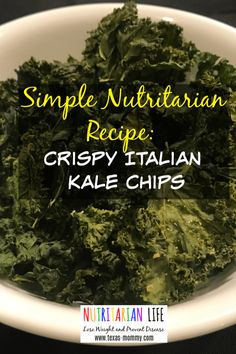 This nutritarian Crispy Italian Kale Chip Recipe is easy to make and healthy! My kids love them, too! Kale chips are great as a salad topping. They are cooked by being roasted at low temperature in the oven to preserve the nutrients and healthy benefits. Vegan Appetizers, Vegan Snacks, Simple Appetizers, Delicious Appetizers, Vegan Meals, Plant Based Snacks, Plant Based Diet, Kale Chip Recipes, Whole Food Recipes