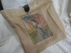 Americana Burlap handbag, purse, market bag with star belt handle and belt buckle $50.00 USD