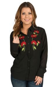 Pink Cattlelac Women's Black with Rose Embroidery Retro Western Shirt | Cavender's
