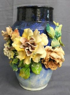 Details about Antique French Faience Longchamp Majolica Barbotine Pottery Applied Flower Vase Flower Vases, Flower Art, Orchid Vase, Keramik Vase, Clay Vase, Pottery Vase, Pottery Clay, Slab Pottery, Thrown Pottery