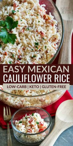 This recipe for easy keto Mexican cauliflower rice is a perfect side dish! It's light but flavorful, and it comes together in just minutes with only 4 ingredients. Healthy Low Carb Recipes, Low Carb Dinner Recipes, Low Carb Keto, Side Dish Recipes, Lunch Recipes, Mexican Food Recipes, Diet Recipes, Cooking Recipes, Keto Dinner