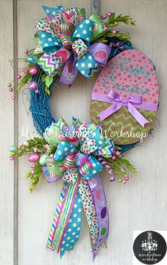 Easter wreath Grapevine wreath Easter egg by MrsChristmasWorkshop