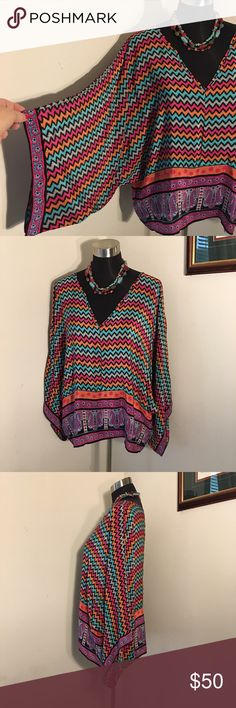 Tolani SILK Boho Top 💖 NWOT 🌈 Colorful boho chic. 100% silk. More beautiful than photos show. NWOT. Tried on but never worn. Smoke free. Bundle for additional savings. 🛍 Tolani Tops