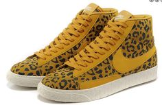 Nike Blazers High Suede Vintage Womens Leopard Print Yellow Black White  Trainers