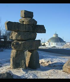 Inukshuk and igloo ... - Inuvik, Northwest Territories