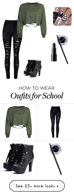 """""""school wear"""" by emoflowerchild on Polyvore featuring WithChic and Maybelline"""