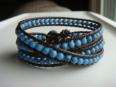 Turquoise and leather wrap bracelet  tinacdesigns.etsy.com