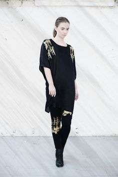 We are Islanders Black Print Twist Sleeve Dress with Gold Hand-Print, and Black Jersey Leggings with Gold Hand-Print Irish Design, Gold Hands, Ss 15, Black Print, Designer Collection, Goth, Cold Shoulder Dress, Tunic, Dresses With Sleeves