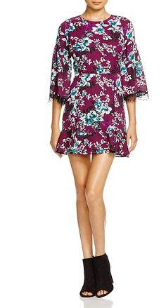 AQUA Harvest Floral Lace Trim Dress