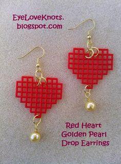 EyeLoveKnots: Red Heart Golden Pearl Drop Earrings - Easy Jewelry DIY