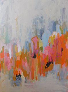 large abstract painting pamela munger  acrylic on canvas orange pink grey artsy design