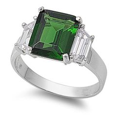 Solid 925 Sterling Silver 4.50 Carat Emerald Cut Emerald Green Radiant Cut Russian CZ Three Stone Cocktail Wedding Engagement Ring