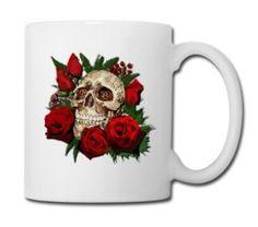 Sugar skull and Red Roses - Full Color Mug #mug #travelmug #sugarskull #skull #skeleton #bone #hallowen #nightmare #monster #dracula #zombie #hunter #evil #devil #daemon #magic #witch #voodoo #kingdom #animal #animalkingdom #ghost #vampire #hauntedmansion #bird #lion #beast #jungle