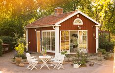 Want to find out about cheap sheds? Then this is without doubt the right place! Porches, Swedish Cottage, Cheap Sheds, Sweden House, Greenhouse Shed, Red Houses, Shed Homes, Patio Seating, Scandinavian Home