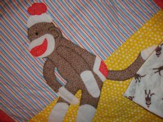 Hand+quilted+hand+appliqued+Sock+Monkey+Quilt+use+by+mayesathome,+$149.95