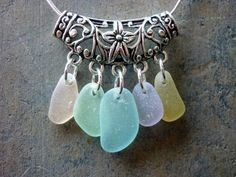 Sea Glass Necklace Aqua  Floral Filigree by TheMysticMermaid, $32.00