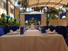 Eventos en la terraza de Restaurante. Mesa imperial.