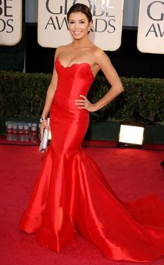 Inspired by Eva Longoria Red Mermaid Celebrity Dresses Strapless Sleeveless Prom Dresses Evening Formal Gowns