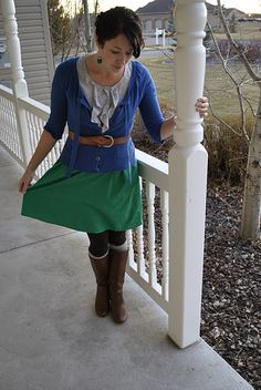 brown boots, gray boot socks, brown tights, skirt with cardigan and belt (colors not quite right, but cute look)