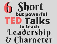 six short ted talks info graphic Love these quick (and funny!) talks to inspire leadership and teach character with my high school students! Perfect to fill an extra 15 minutes or all together as a mini character-building unit. Leadership Quotes, Ted Talks Leadership, Leadership Classes, Student Leadership, Leadership Activities, Leadership Development, Group Activities, Leadership Qualities, Educational Leadership