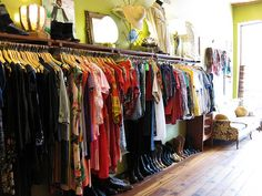Vintage Clothing Stores | Rural charity thrift stores area a good source for vintage clothing to ... Vintage Clothing Display, Vintage Clothing Stores, Store Displays, Boutique Displays, Retail Displays, Window Displays, Vintage Boutique, Vintage Shops, Antique Mall Booth