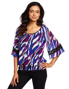AGB Women's Printed Mesh Top With Three-quarter Sleeves AGB. $31.50. polyester. Stylish design. Made in China. Comfortable fit. Machine Wash