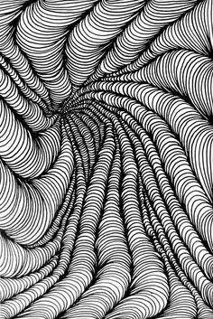 desending curls by Bobby Knezek Contour Drawing, Doodle Art Drawing, Zentangle Drawings, Zentangle Patterns, Zentangles, Illusion Kunst, Illusion Art, Ink Pen Drawings, Cool Drawings